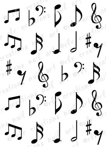 30 MUSIC NOTES OR MUSIC STAFF WITH NOTES WATER SLIDE NAIL