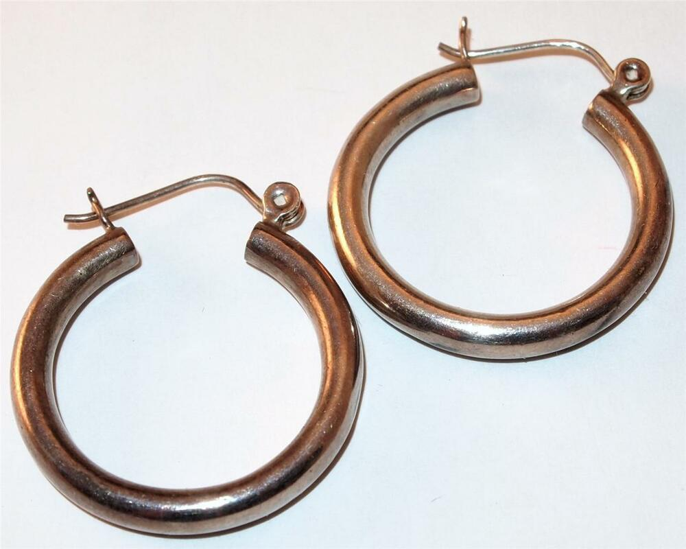 Nice Sterling Silver Medium Sized Pierced Hoop Earrings