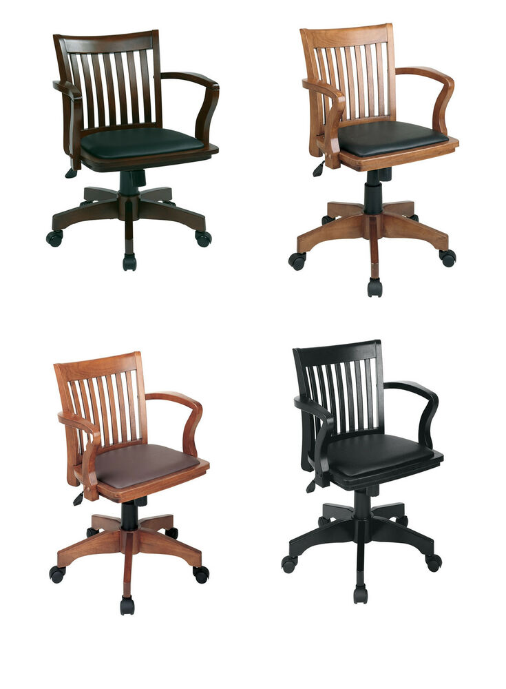 Mission Style Bankers Wood Swivel Desk Chair Laquered
