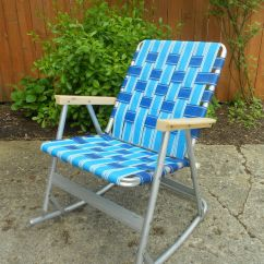 Webbed Folding Lawn Chairs Outdoor Wooden Vintage Tubular Aluminum Rocker Rocking Chair Patio 1 Of 2 | Ebay