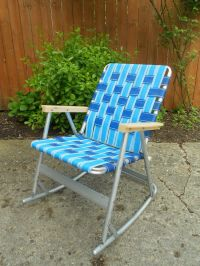 Vintage Webbed Tubular Aluminum Rocker Rocking Lawn Chair ...