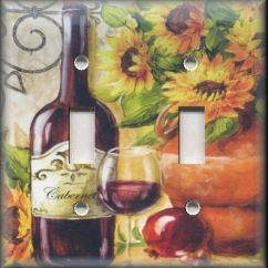 Grapes And Wine Kitchen Decor Fluorescent Light Switch Plate Cover - Tuscan Sunflowers Red ...