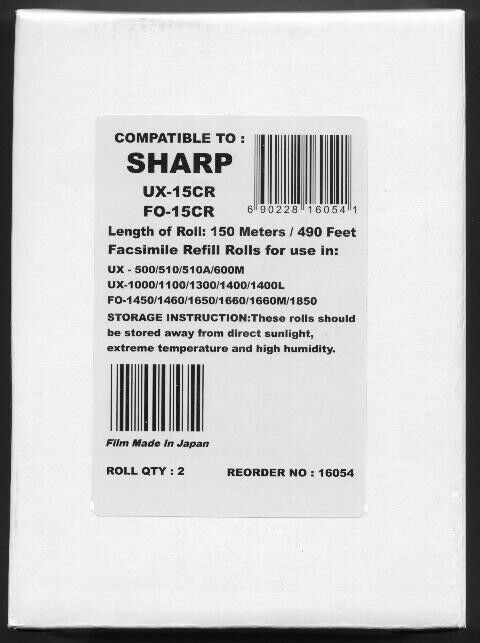 2-pack UX-15CR Fax Refill Rolls for Sharp UX-500 UX-510 UX
