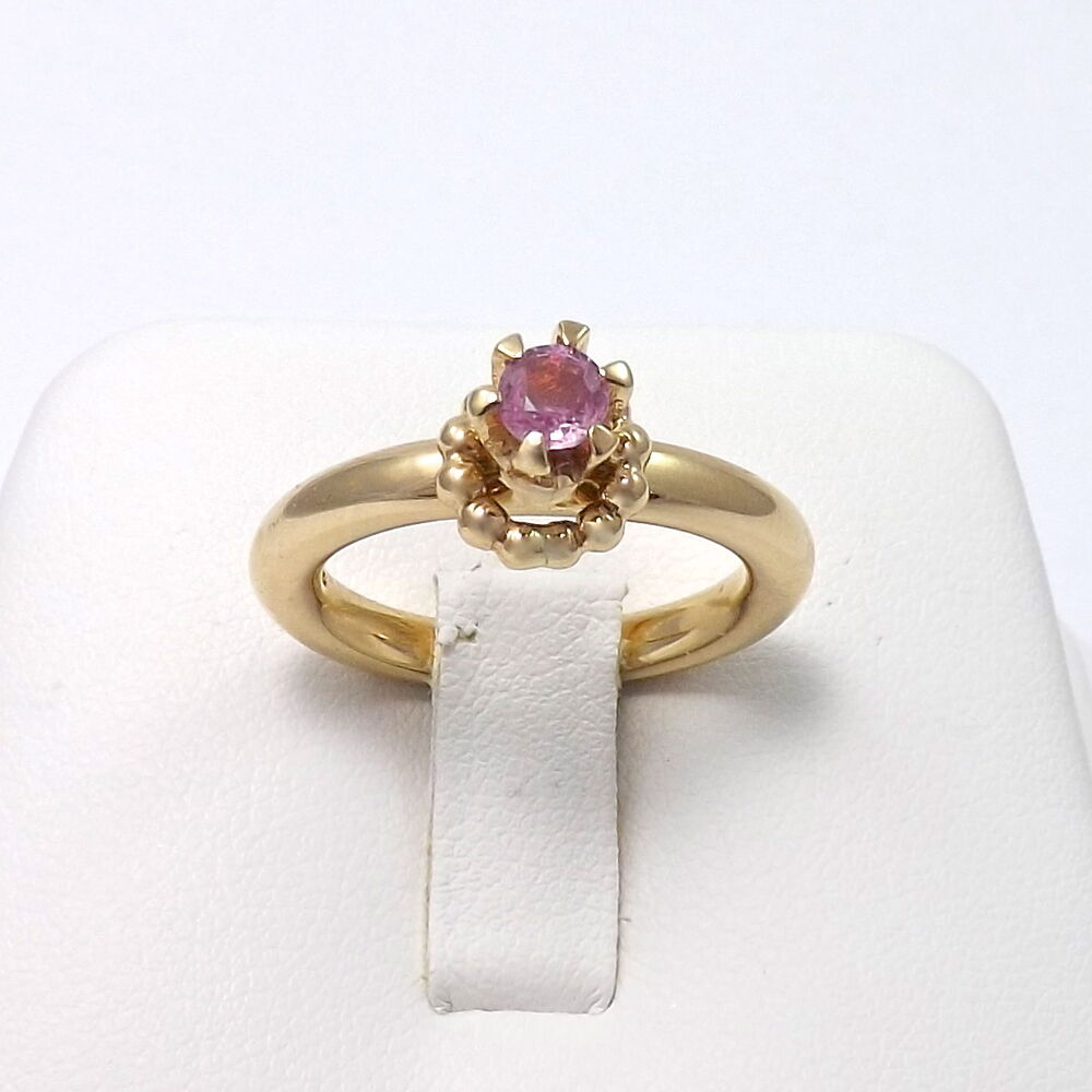NEW PANDORA RAISED 14K GOLD RING WITH PINK SAPPHIRE Sz 7