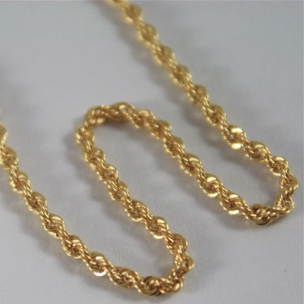 Solid 18k Yellow Gold Chain Necklace Braid Rope Mesh 15