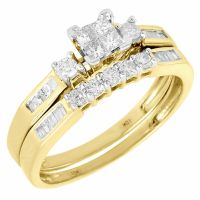 Ladies 10K Yellow Gold Diamond Engagement Ring Princess ...