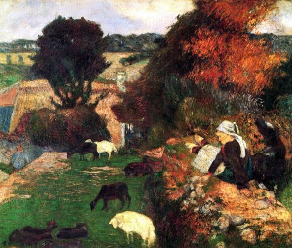 Breton Shepherds Paul Gauguin Giclee Fine Art Print