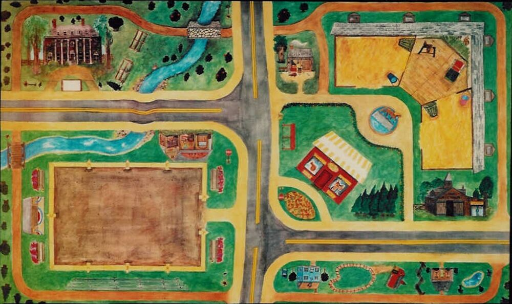 American Made Country Town Play Mat Horseplay Rug fits