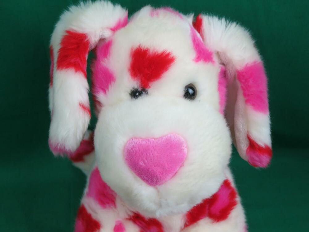 PINK RED WHITE VALENTINES DAY HEART STANDING UP PUPPY DOG