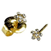 SHORT POST Baby Studs Gold Clear Daisy Ear Piercing ...