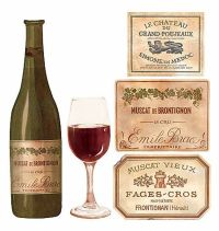 Wine Bottles Labels Glasses 25 Wallies Decal Stickers ...