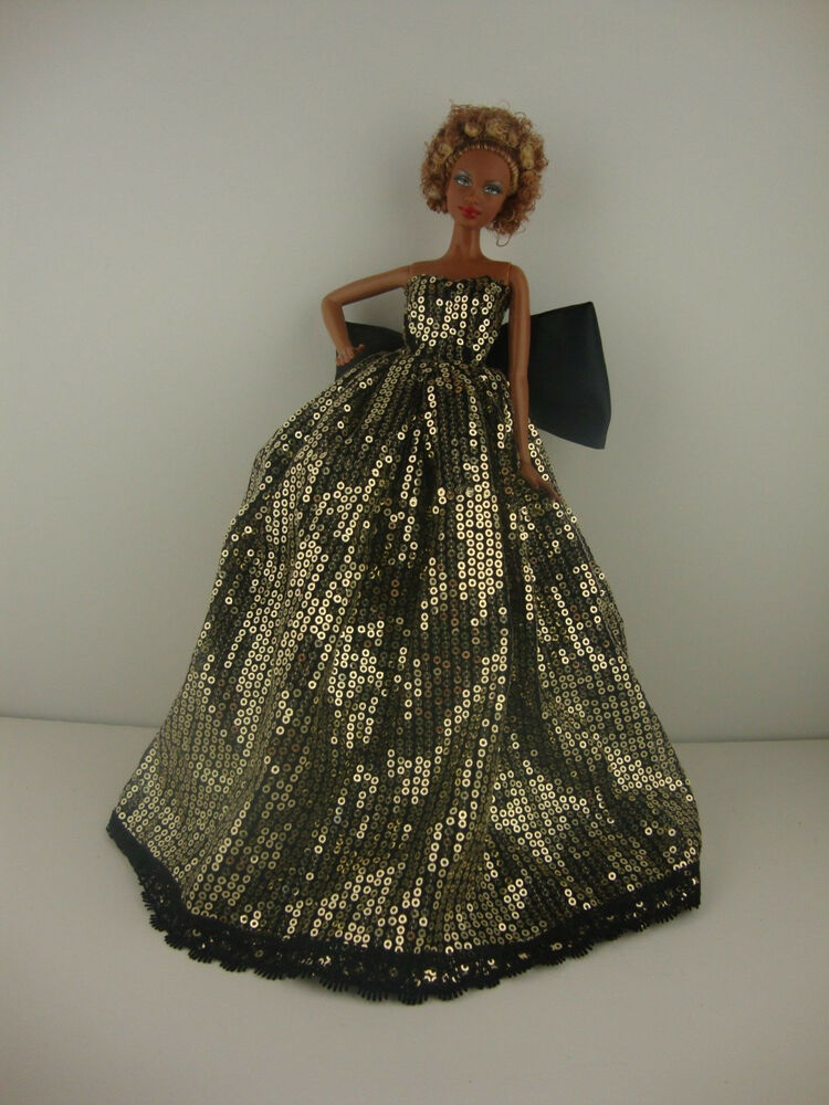 Gold Sequined Ball Gown with Black Underneath Made to Fit the Barbie Doll  eBay