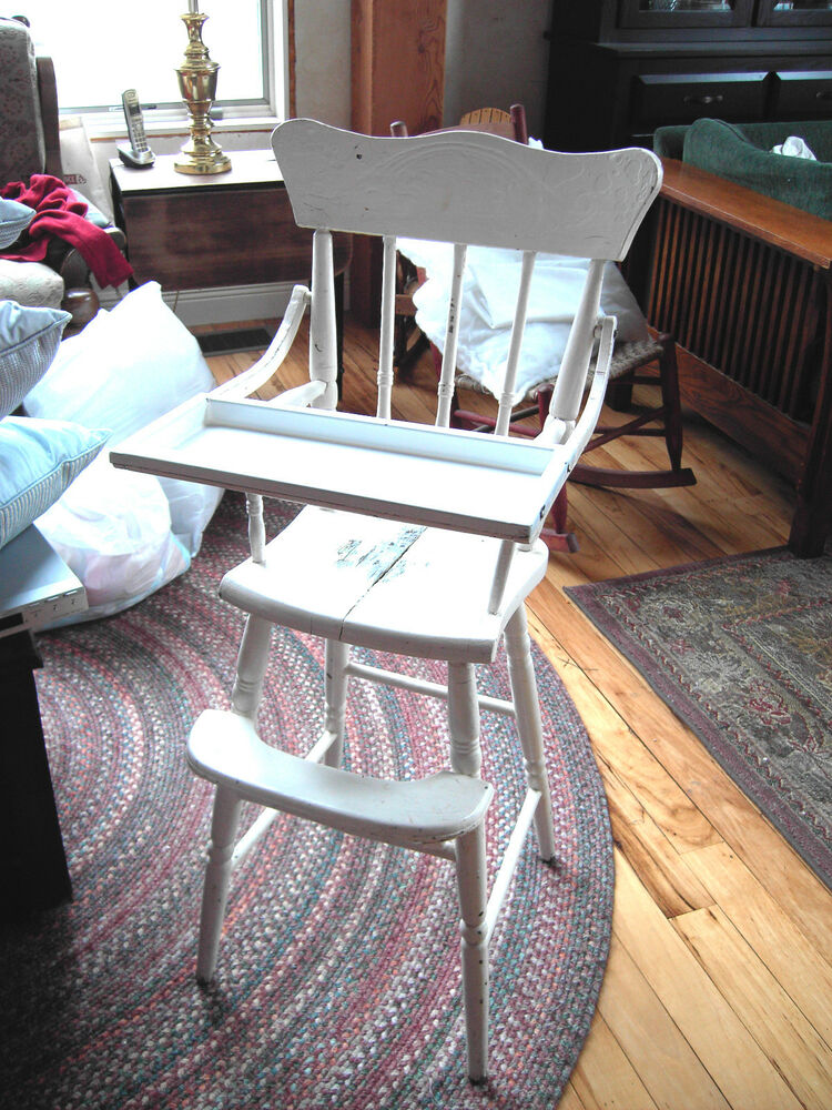 Antique 1800s Pressed Back White Baby High Chair wEmanel