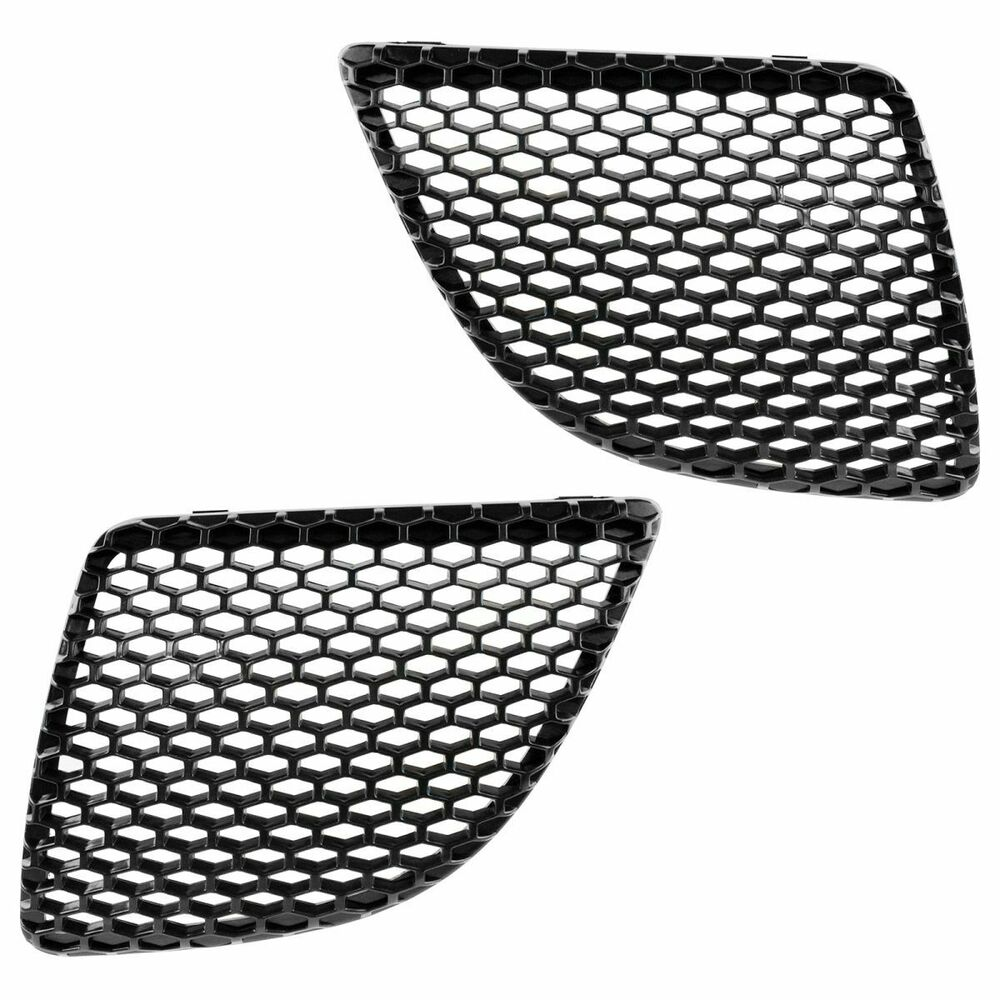 Front Upper Grille Insert Mesh Black Left & Right Pair for