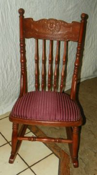 Small Cherry Carved Sewing Rocker / Rocking Chair / Child ...