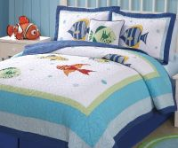 COLORFUL SEA Full / Queen QUILT SET : TROPICAL FISH BLUE