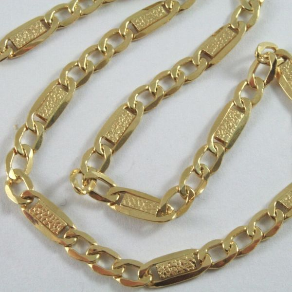 18k Gold Yellow Chain Rolo Grumette Mesh Finely Worked