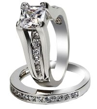 Women's Stainless Steel Princess Cut Top CZ Wedding Ring ...