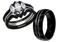 His Tungsten Hers Black Stainless Steel 4 Pcs Wedding ...
