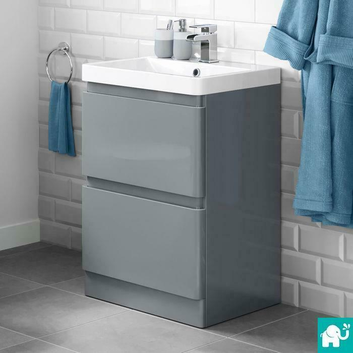 600 X 860mm Pebble Grey Bathroom Vanity Unit Amp Stone