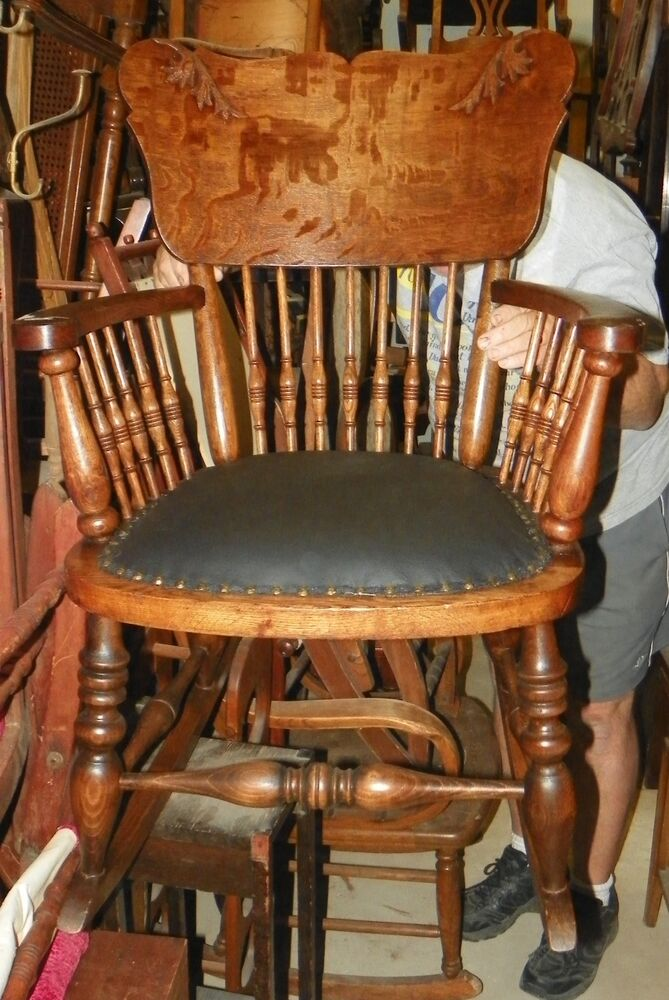 antique rocking chair leather seat gaming chairs best buy quartersawn oak carved / rocker (r149)   ebay