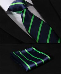 "TS2013G8 Green Navy Blue Stripe 3.4"" Silk Woven Men Tie"