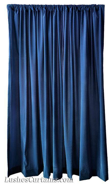 15 H Navy Blue Velvet Curtain Long Window Panel Theatre