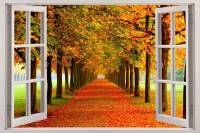 Autumn Leaves 3D Window View Decal WALL STICKER Decor Art ...
