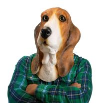 Bowser Basset Hound Dog Face Mask ~ Latex Halloween ...
