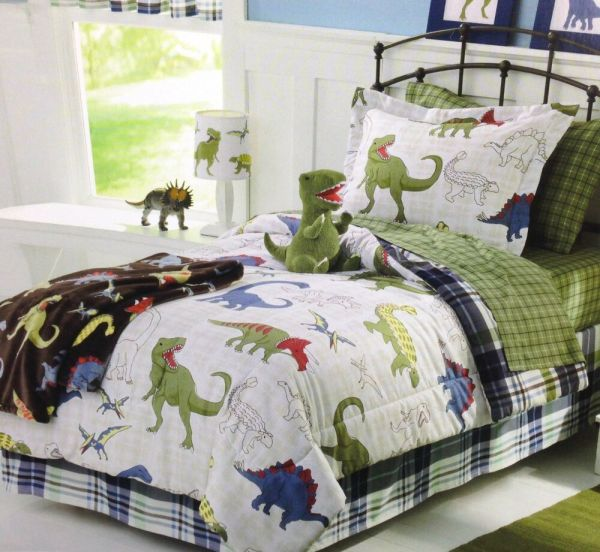 Blue Green & White Dinosaurs Boys Twin Comforter Set 5 Piece Bed In Bag