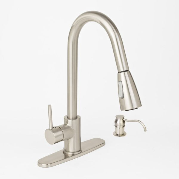 brushed nickel kitchen sink Brushed Nickel Kitchen Sink Faucet Pull-Out Spray With