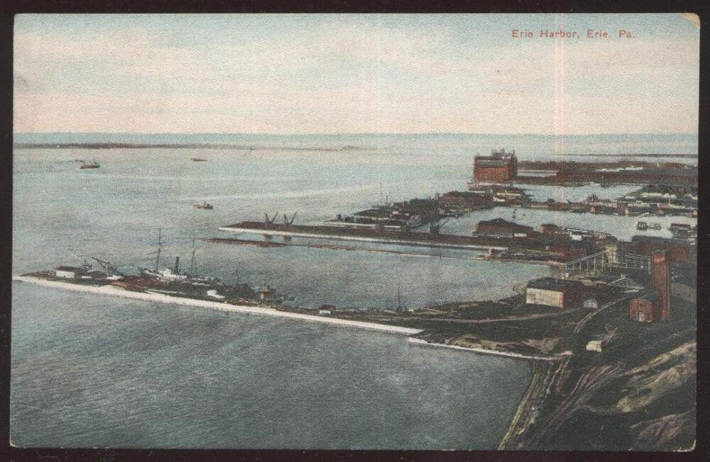 Postcard ERIE PennsylvaniaPA Harbor Shipping Docks Birds Eye Aerial View EBay