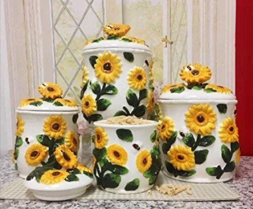3D Sunflower 4piece Canisters Set 83001 New  eBay