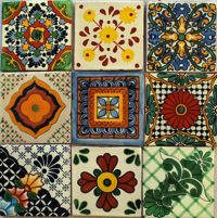 W141 - 9 Mexican Talavera Tiles Ceramic Folk Art Wall ...