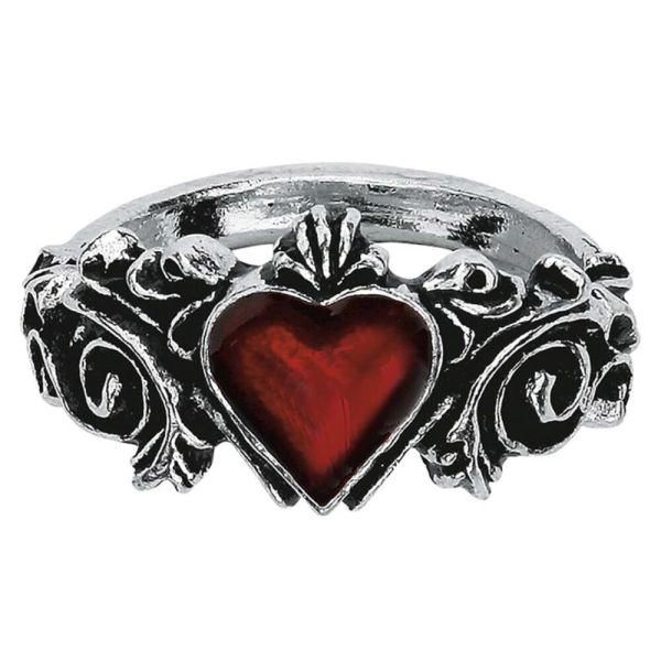Official Alchemy Gothic Betrothal Red Heart Pewter Ring