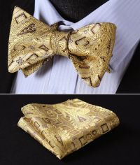 BFC002Y Yellow Gold Brown Paisley Bowtie Silk Men Self Bow ...