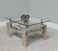 Rectangle Coffee Table with Clear Glass Top | Chrome ...