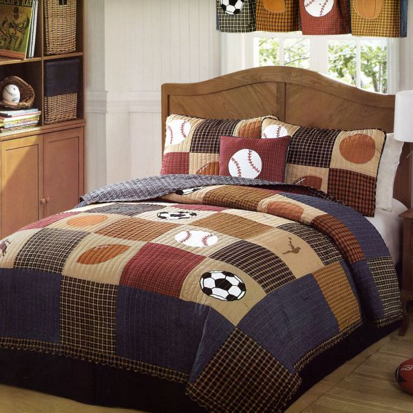 Classic Sports Full Queen Quilt Set Boys State Football Baseball Comforter