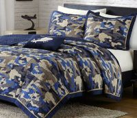 CAMOUFLAGE BLUE Full Queen QUILT SET : CAMO MILITARY ARMY ...