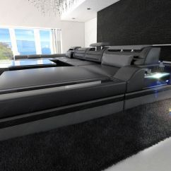 Leather Sofa Deals Free Shipping Fur Pillows Big Sectional Monza U-shaped With Led Lights Black ...