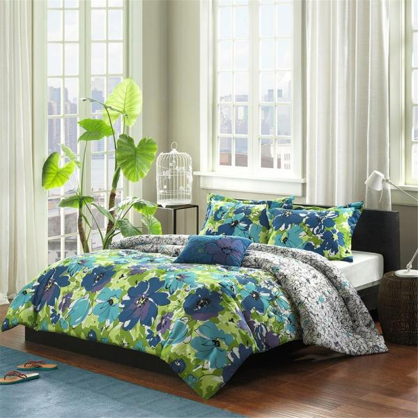 Turquoise Blue Purple Hawaiian Tropical Full Queen Comforter Shams & Toss Pillow