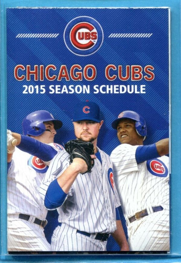 2015 Chicago Cubs Baseball Pocket Schedule Anthony Rizzo