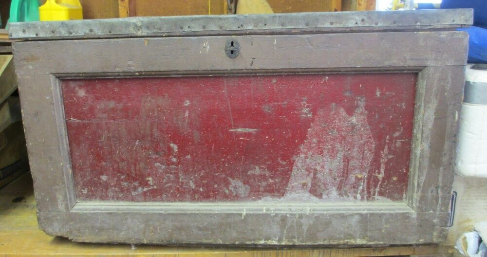 Antique Carpenters Toolbox Chest Wooden Strongbox Trunk