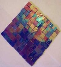 100 BLUE IRIDESCENT MOSAIC TILE STAINED GLASS TILE ART ...