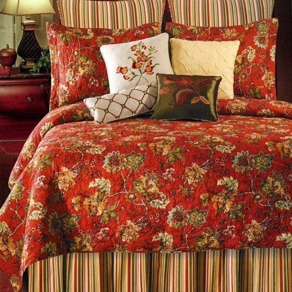 Red Toile Full Queen Quilt French Country Florentine