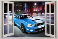 Mustang Shelby GT500 3D Window View Decal WALL STICKER