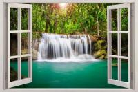 Waterfall Fantasy Forest 3D Window View Decal WALL STICKER ...