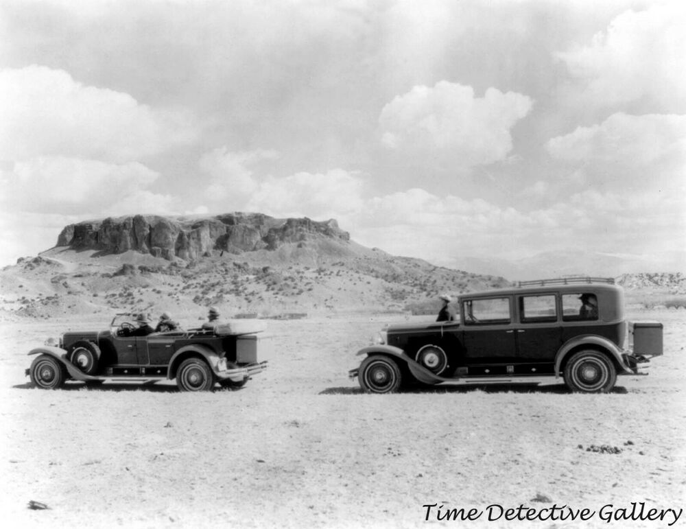 Two Classic Cars at Black Mesa Arizona  1924  Historic