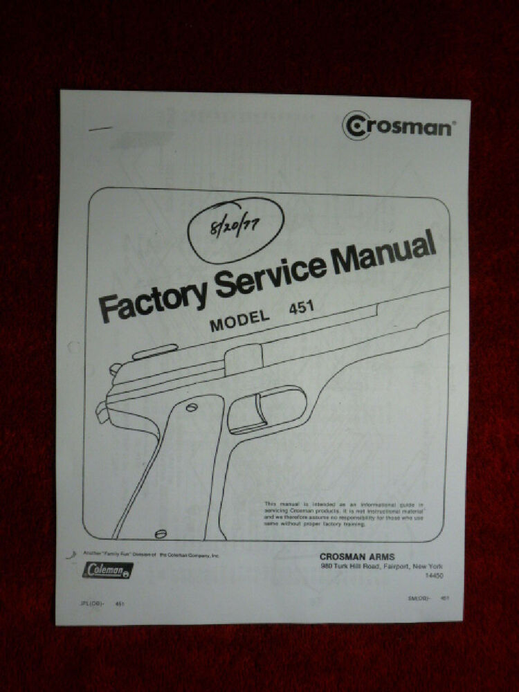 Crosman 451 (Military 45) Factory Service Manual With