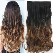 1pcs clip in ombre colored wavy